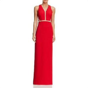 AVERY G Illusion-Inset Gown in Red, Size 0 - XS